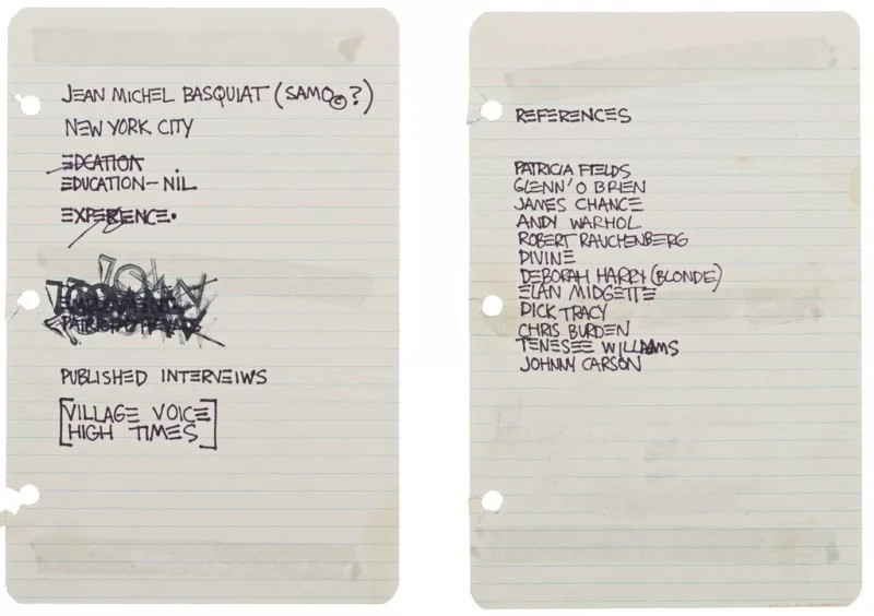 """What Basquiat's """"Resume"""" Tells Us About His Life"""