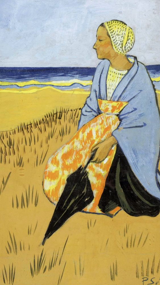 Breton Woman Sitting at the Seashore