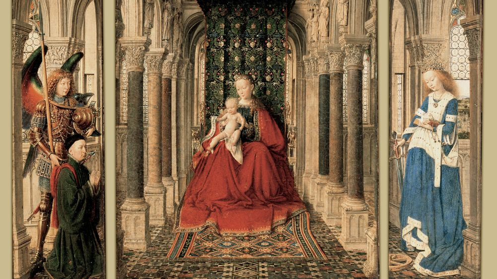 Triptych of Mary and Child, St. Michael, and the Catherine