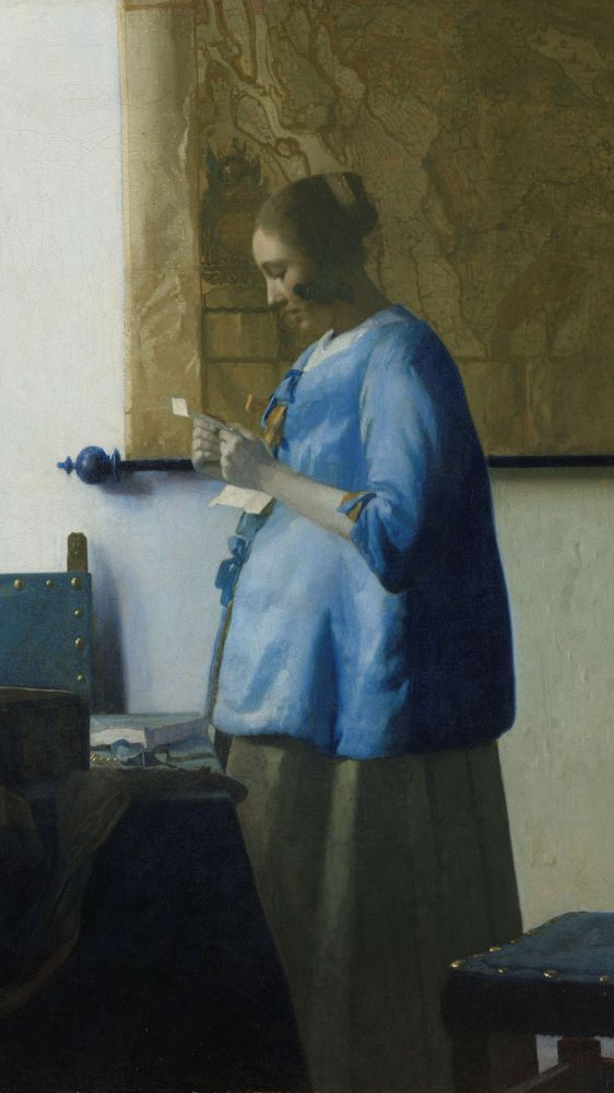 Woman In Blue Reading A Letter | Explore Meural's Permanent Art Collection | Digital Work