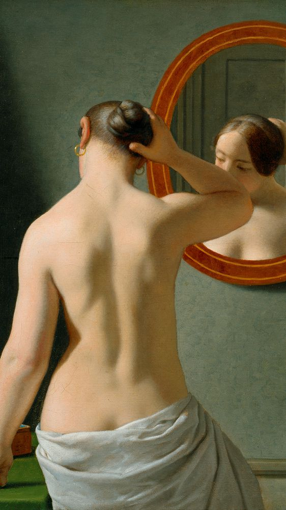 A Nude Woman Doing Her Hair Before a Mirror