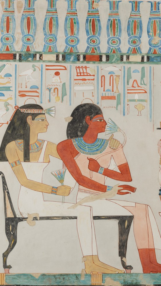Djehuty and his Mother Receiving Offerings, Tomb of Djehuty (facsimile)