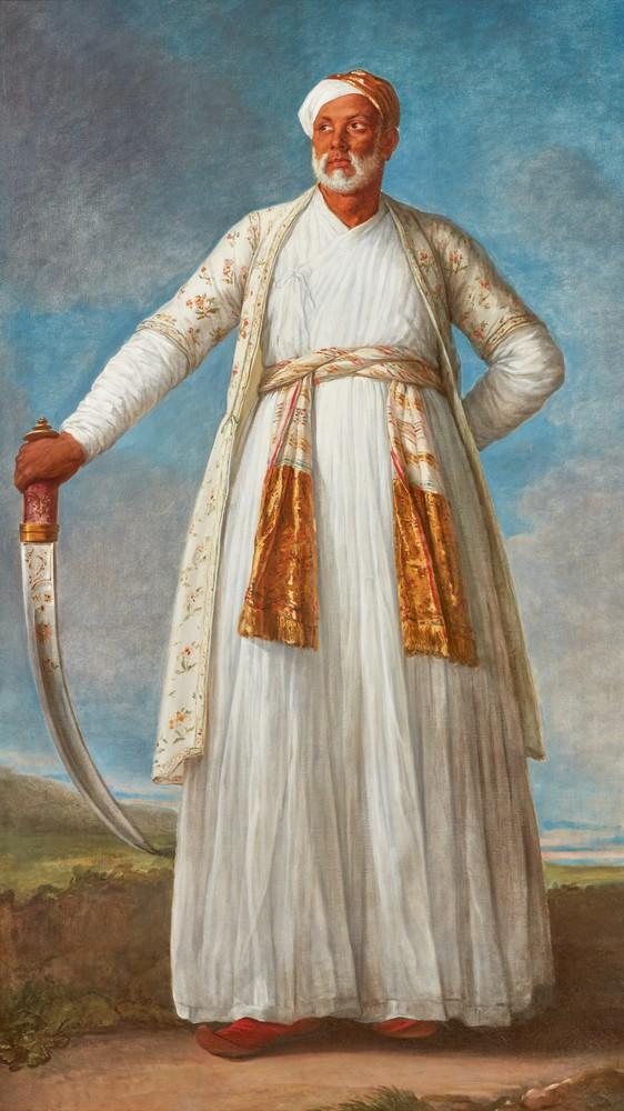Portrait of Muhammad Dervish Khan, Full-Length, Holding His Sword in a Landscape