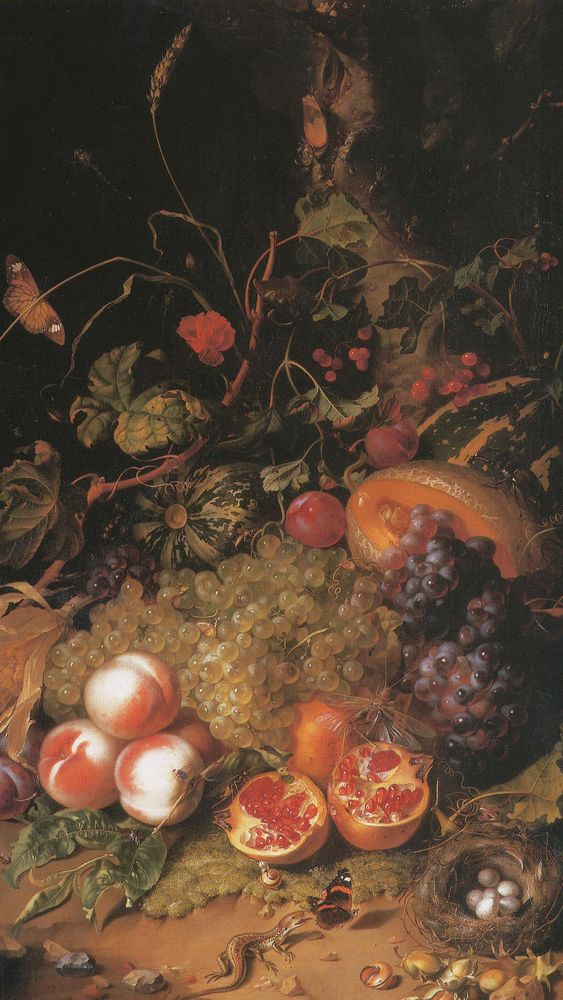 Still Life with Fruit, a Nest, and a Lizard