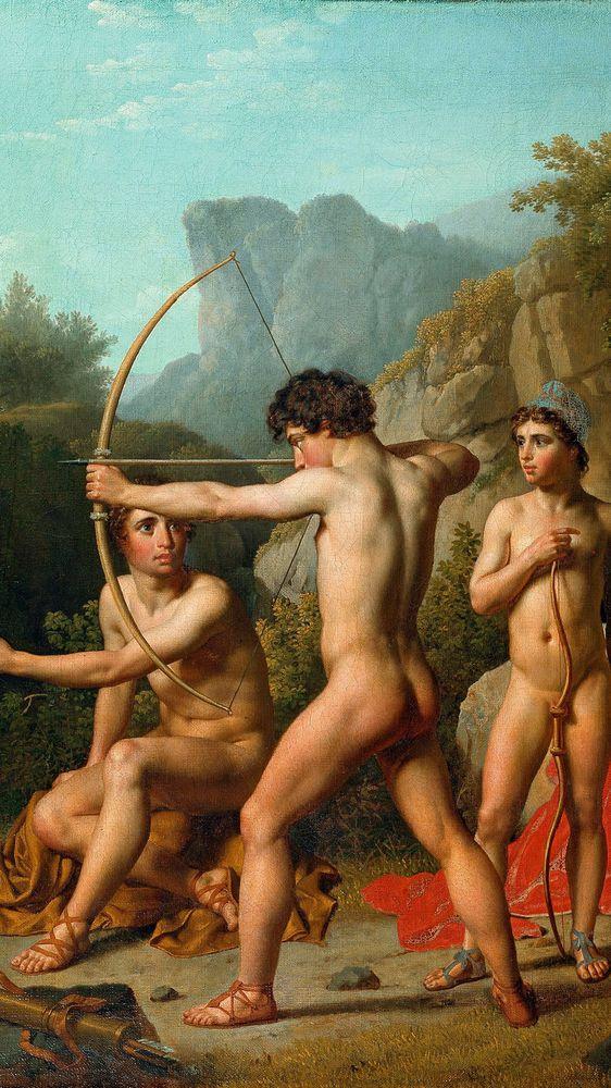Three Spartan Boys Practicing Archery